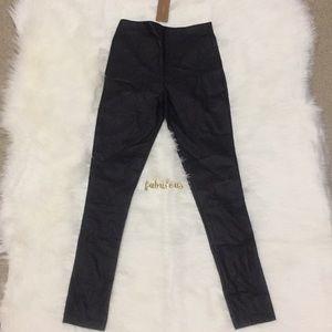 NWT Francesca's black faux leather leggings pants